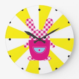 かわいいのチェック模様のウサギ 時計