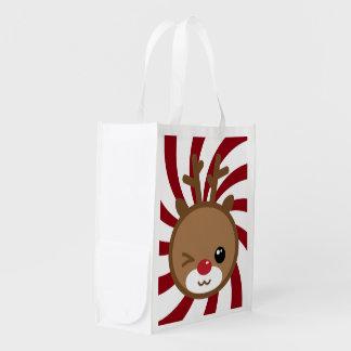 かわいいのトナカイの再使用可能な買い物袋 エコバッグ