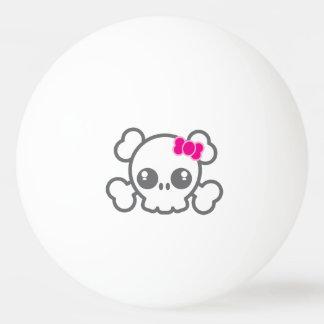 かわいいのピンクのリボンのスカルのピンポン球 卓球ボール
