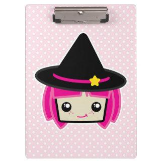 かわいいのピンクの髪の魔法使いの用箋挟 クリップボード