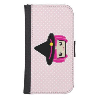 かわいいのピンクの髪の魔法使いのSamsungのウォレットケース