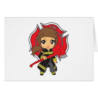 かわいいのブルネットの消防士の女の子 カード
