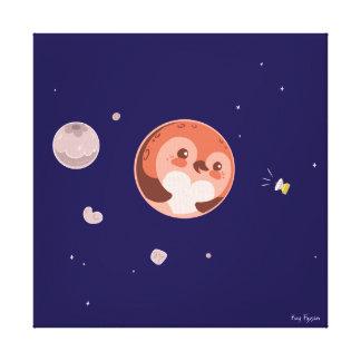 かわいいのプルートのペンギンの惑星および月 キャンバスプリント