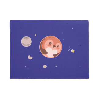 かわいいのプルートのペンギンの惑星および月 ドアマット
