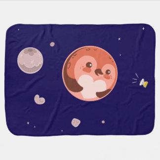 かわいいのプルートのペンギンの惑星および月 ベビー ブランケット