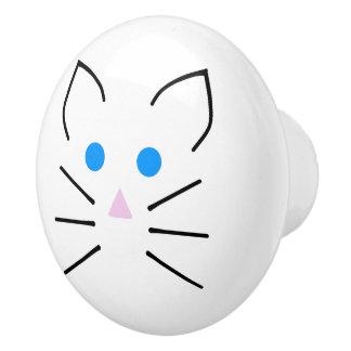 かわいいの動物白いマウスの青い目の漫画のネズミ セラミックノブ