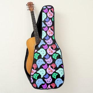 かわいいの子猫の落書きの顔 ギターケース