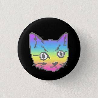 かわいいの子猫猫のパステル調の虹ピクセル8bit 3.2cm 丸型バッジ