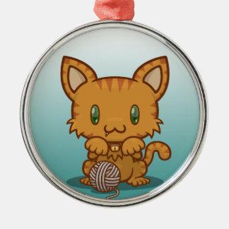 かわいいの子猫(オレンジストライプの) メタルオーナメント