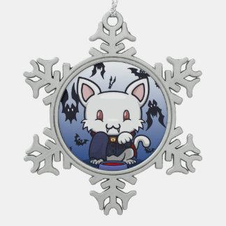 かわいいの子猫(ドラキュラ) スノーフレークピューターオーナメント
