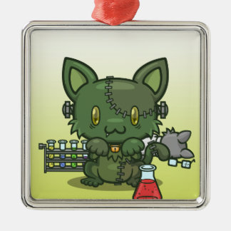 かわいいの子猫(フランケンシュタインのモンスター) シルバーカラー正方形オーナメント