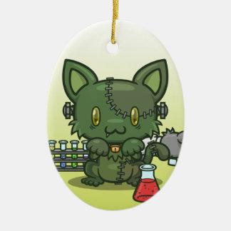 かわいいの子猫(フランケンシュタインのモンスター) 陶器製卵型オーナメント