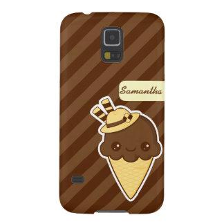 かわいいの幸せなチョコレート・アイス・クリームの円錐形 GALAXY S5 ケース