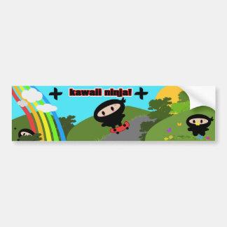 かわいいの忍者のスケートボードのバンパーステッカー バンパーステッカー