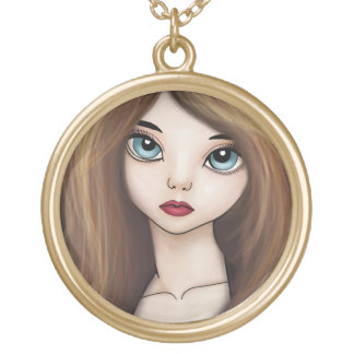 かわいいの日本製アニメの女の子の人形のマンガの日本人のネックレス ゴールドプレートネックレス