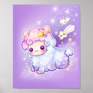 かわいいの流星が付いているかわいいチビ(小さくかわいく書いた感じ)のアルパカ ポスター