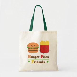 かわいいの漫画のハンバーガーは友人BFFを揚げます トートバッグ