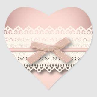 かわいいの王女のガーリーでシックで白いレースのピンクの弓 ハートシール