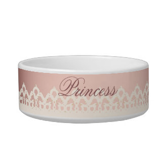 かわいいの王女のガーリーでシックで白いレースのピンクの弓 ボウル