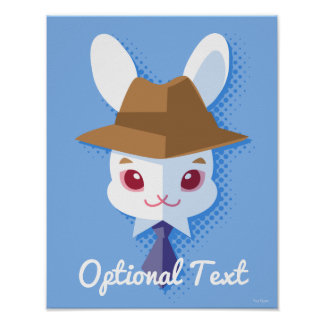 かわいいの白いウサギの軽快なイースターのウサギ ポスター