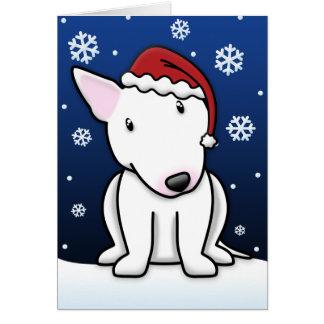 かわいいの白いブルテリアのクリスマスカード カード