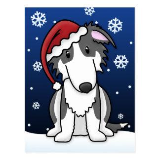 かわいいの白黒ボルゾイのクリスマスの郵便はがき ポストカード