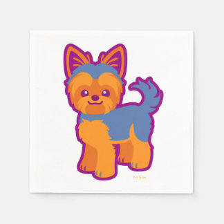 かわいいの短い髪のヨークシャーテリアの漫画犬 スタンダードカクテルナプキン
