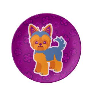 かわいいの短い髪のヨークシャーテリアの漫画犬 磁器プレート