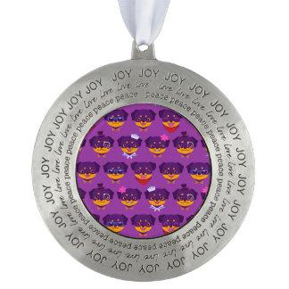 かわいいの紫色のロットワイラーの子犬パターン オーナメント