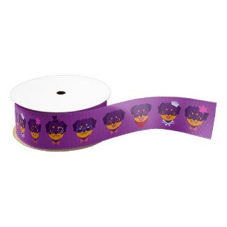 かわいいの紫色のロットワイラーの子犬パターン グログランリボン