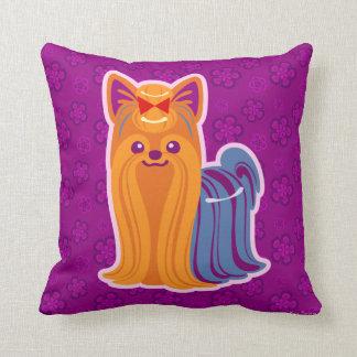 かわいいの長い毛のヨークシャーテリアの漫画犬 クッション