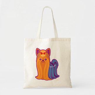 かわいいの長い毛のヨークシャーテリアの漫画犬 トートバッグ