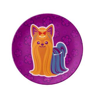 かわいいの長い毛のヨークシャーテリアの漫画犬 磁器プレート