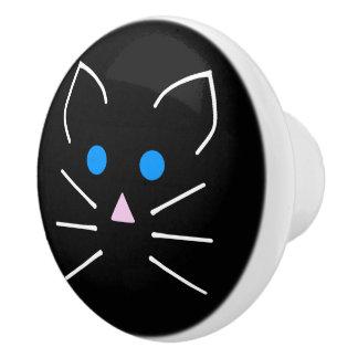 かわいいの黒猫の子猫の青い目の漫画動物 セラミックノブ