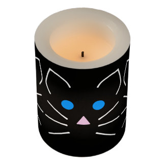 かわいいの黒猫の子猫の青い目の漫画動物 LEDキャンドル