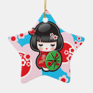 かわいいのKokeshiの人形 セラミックオーナメント