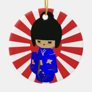 かわいいのKokeshiの青い人形Singleオーナメント味方しました セラミックオーナメント