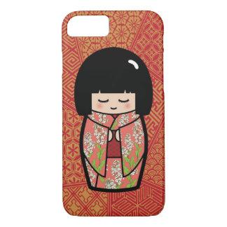 かわいいのKokeshiの(ピンクの)日本のな人形 iPhone 8/7ケース