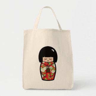 かわいいのKokeshiの(赤い)日本のな人形のトートバック トートバッグ