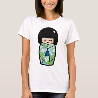 かわいいのKokeshiの(青い)日本のな人形のワイシャツ Tシャツ