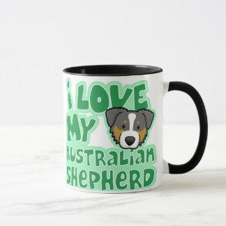 かわいいはI私の三色のオーストラリア人の羊飼いを愛します マグカップ