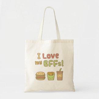 かわいいはI私のBFFsのハンバーガーのフライドポテトのソーダを愛します トートバッグ