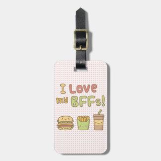 かわいいはI私のBFFsのハンバーガーのフライドポテトのソーダを愛します ラゲッジタグ
