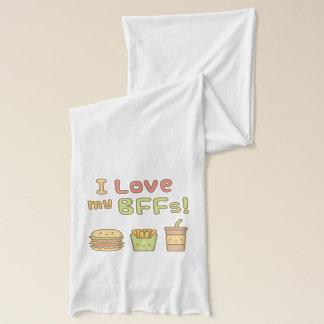 かわいいはI私のBFFsのファースト・フードの落書きを愛します スカーフ