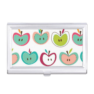 かわいいりんごパターン 名刺入れ