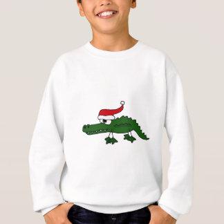 かわいいわに身に着けているクリスマスの帽子 スウェットシャツ