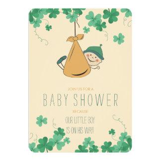 かわいいアイルランドのテーマのシャムロックのベビーシャワー カード
