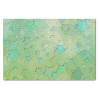 かわいいアクアマリンおよび緑の星 薄葉紙