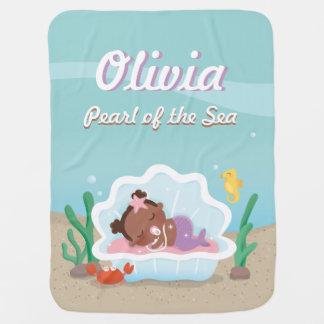 かわいいアフリカ系アメリカ人の人魚の女の赤ちゃん毛布 ベビー ブランケット
