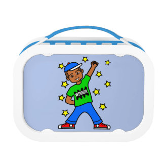 かわいいアフリカ系アメリカ人の男の子の勝者のお弁当箱 ランチボックス
